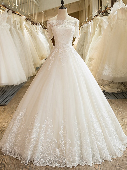 Ericdress Off the Shoulder Appliques Ball Gown Wedding Dress