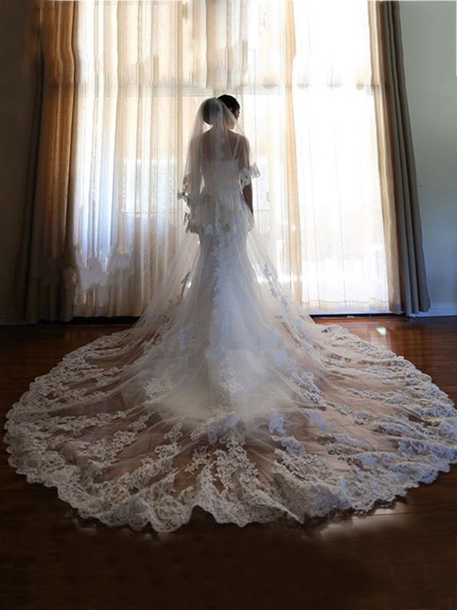 Ericdress Luxury 2T Lace Appliques Cathedral Bridal Veil