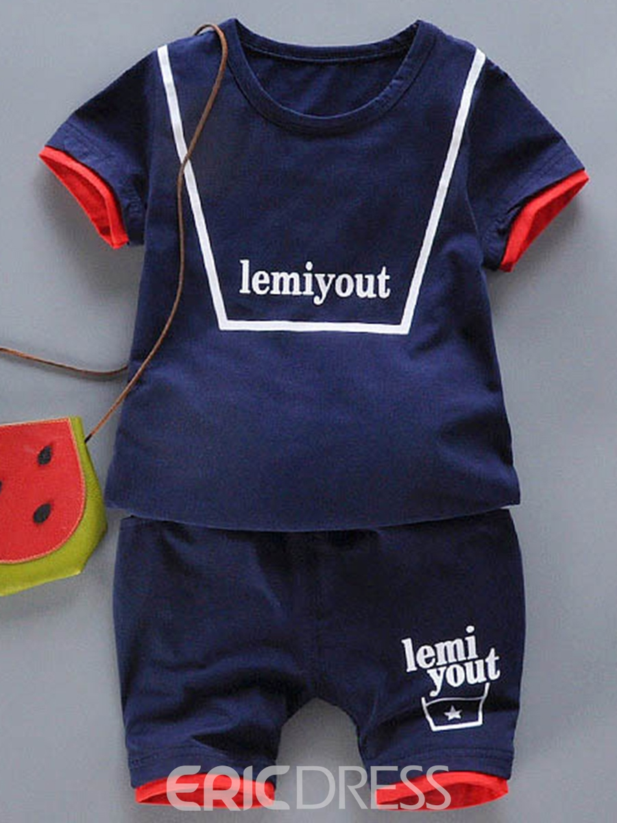 Ericdress Three Color Print T-shirt Shorts Little Boys Outfit