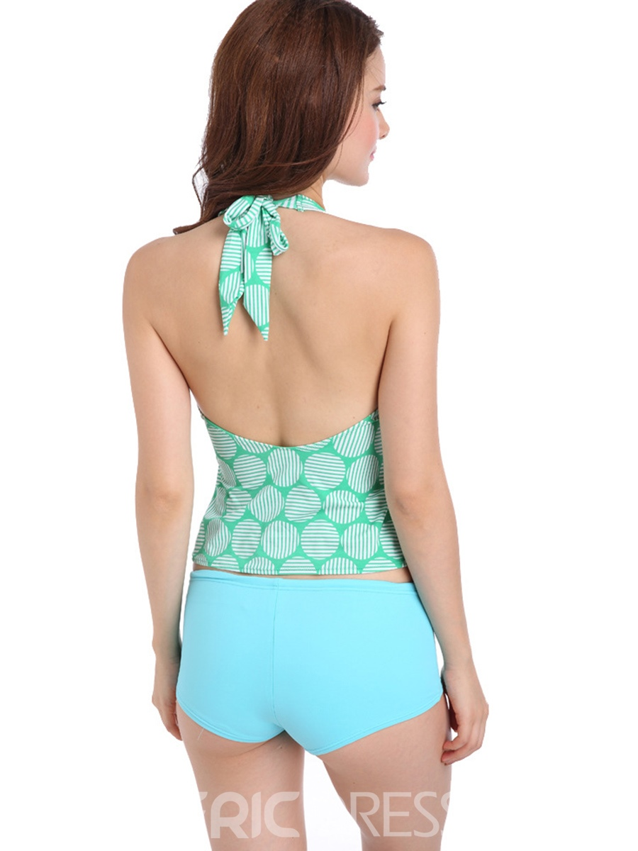 Ericdress Lace-up Gather Chest Tankini Set