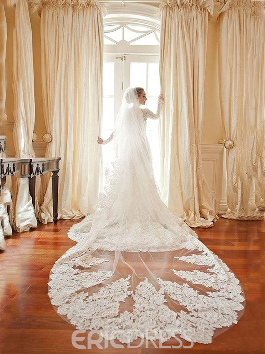 Ericdress 1T Appliques Long Bridal Wedding Veil