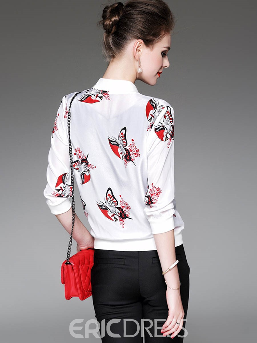 Ericdress Three-Quarter Sleeve Printed Jacket
