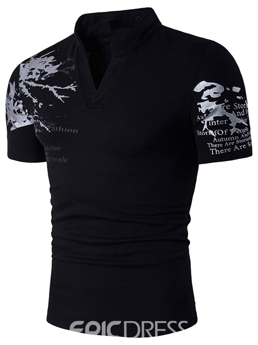 Ericdress Stand Collar Short Sleeve Men's T-Shirt