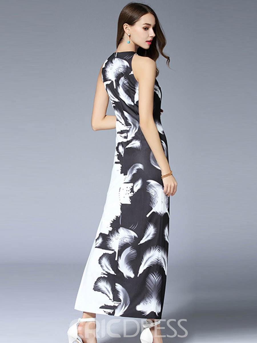 Ericdress European Ink Paintings Print Split Maxi Dress