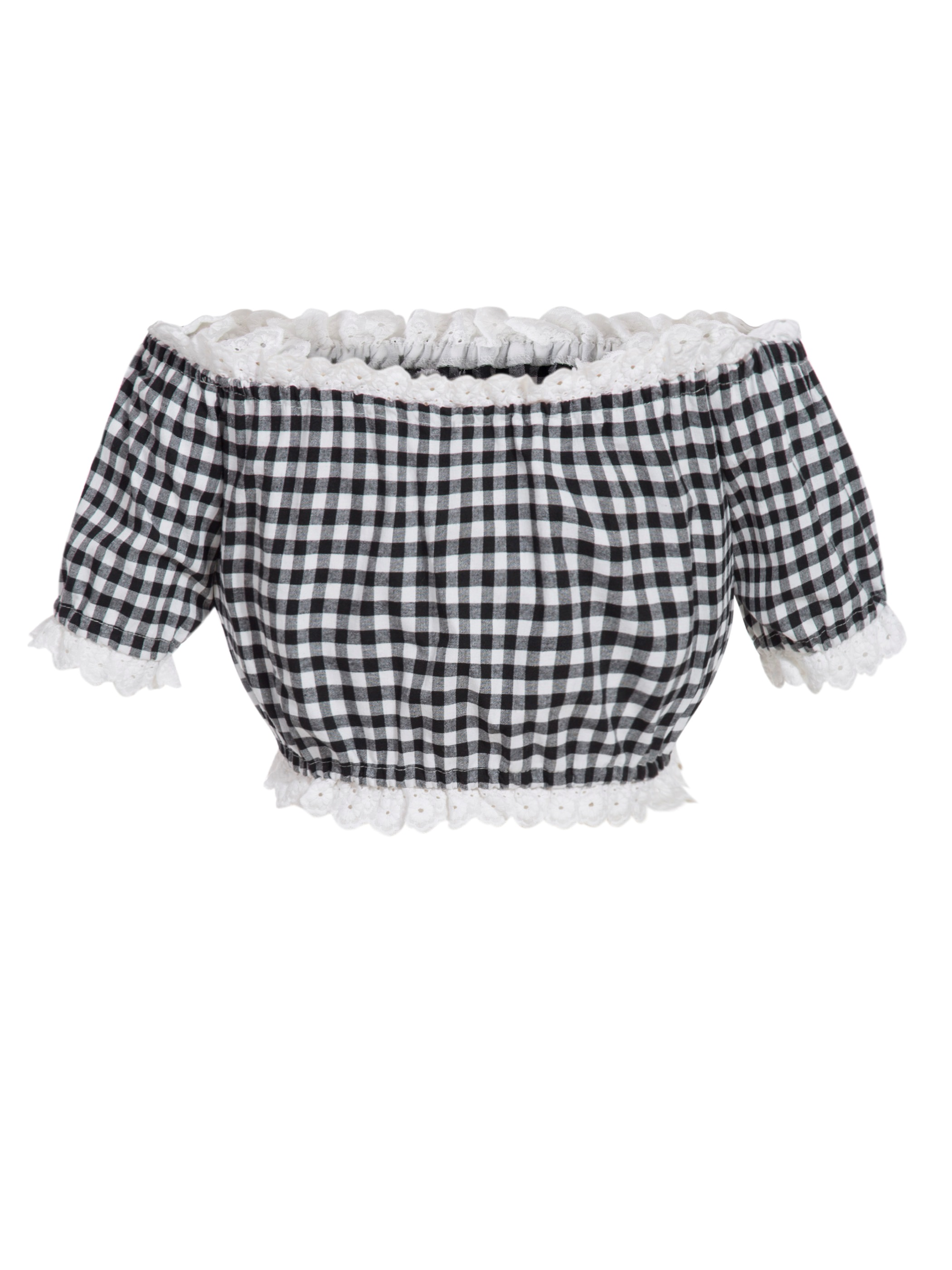 Ericdress Slash Neck Plaid Pullover Short Blouse