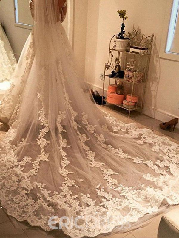 Ericdress 1T Gorgeous Tulle Appliques Cathedral Wedding Veil