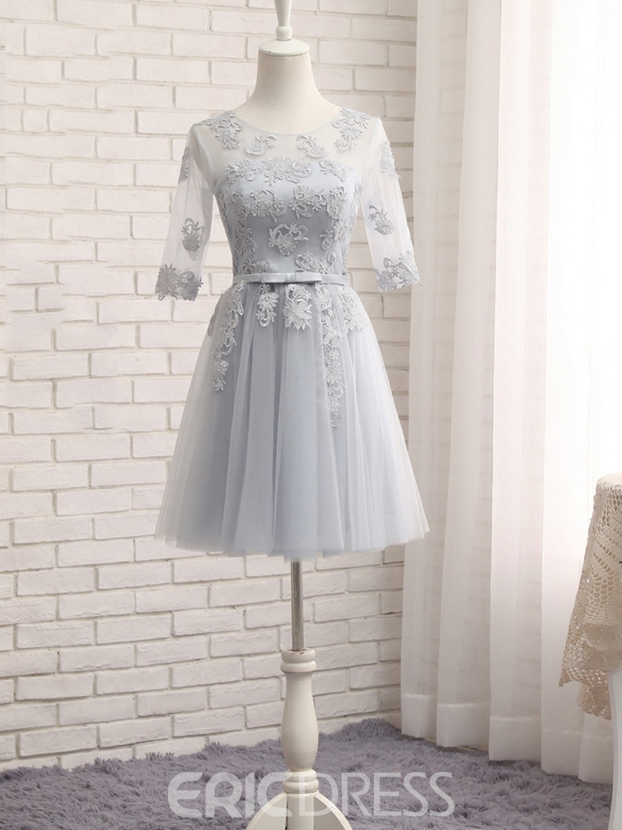 Ericdress Appliques Short Bridesmaid Dress with Sleeves
