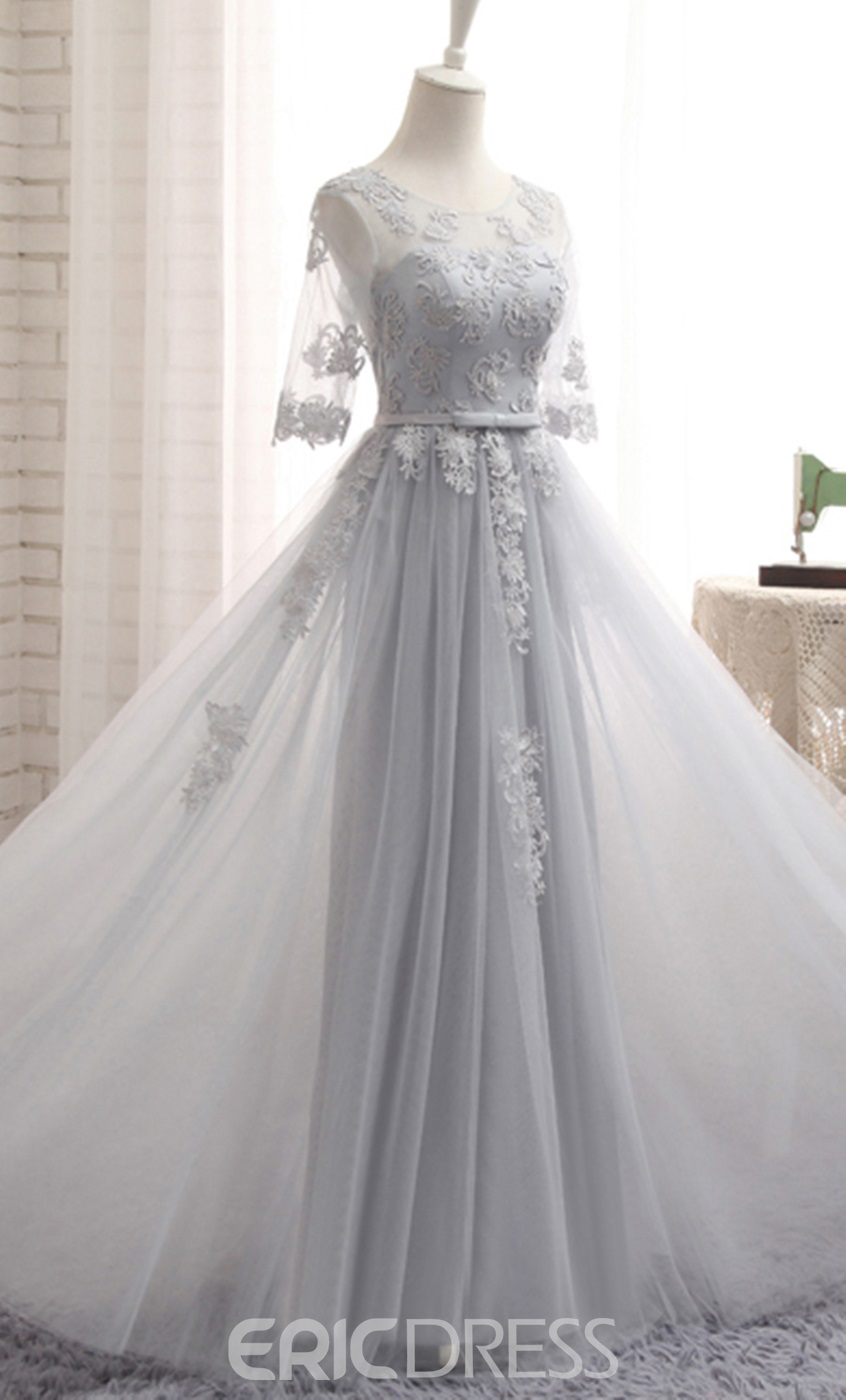 Ericdress Tulle Applique Half Sleeves A-Line Long Bridesmaid Dress