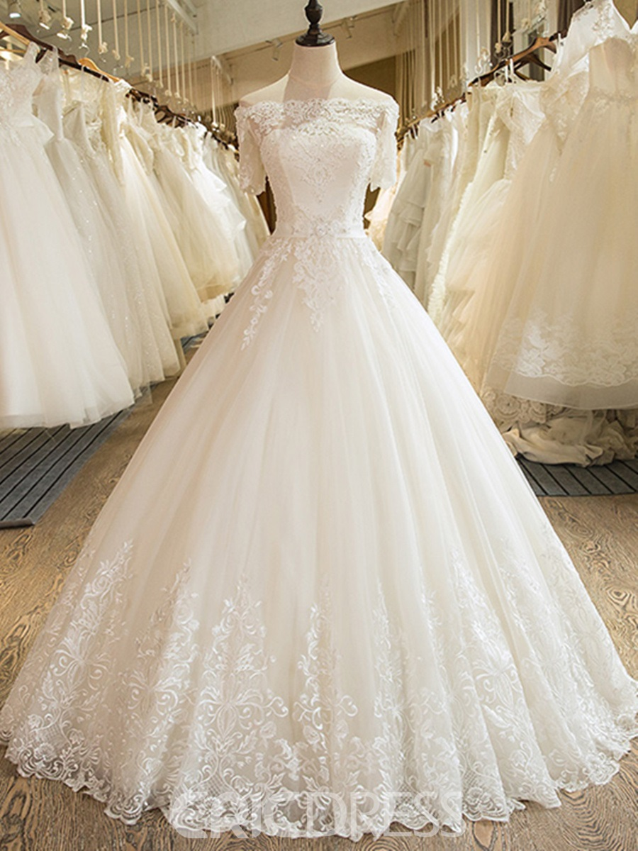 Ericdress Tulle Ball Gown Off Shoulder Bateau Wedding Dress with ...