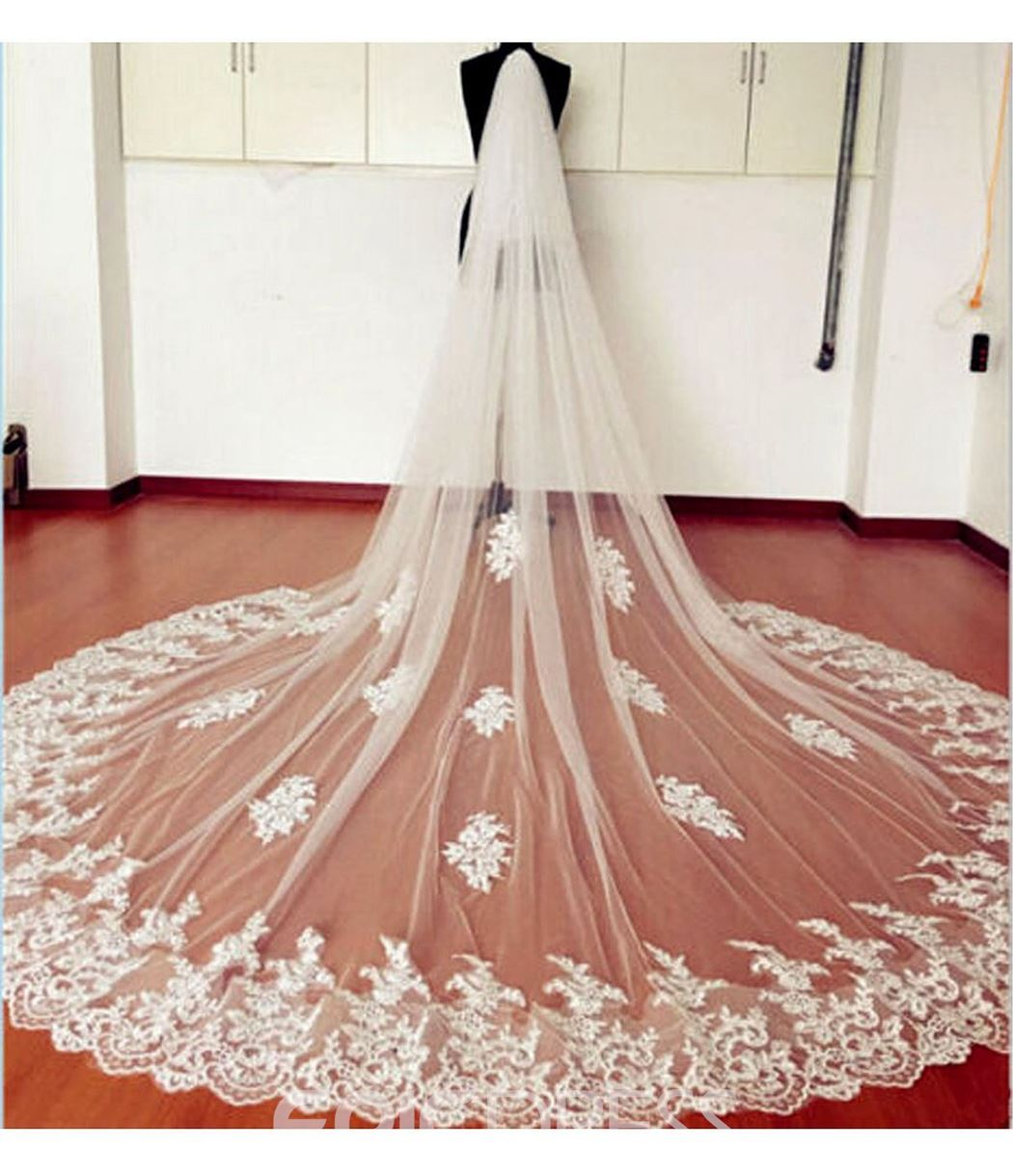 Ericdress 1T Tulle Applique Lace Edge Cathedral Bridal Veil