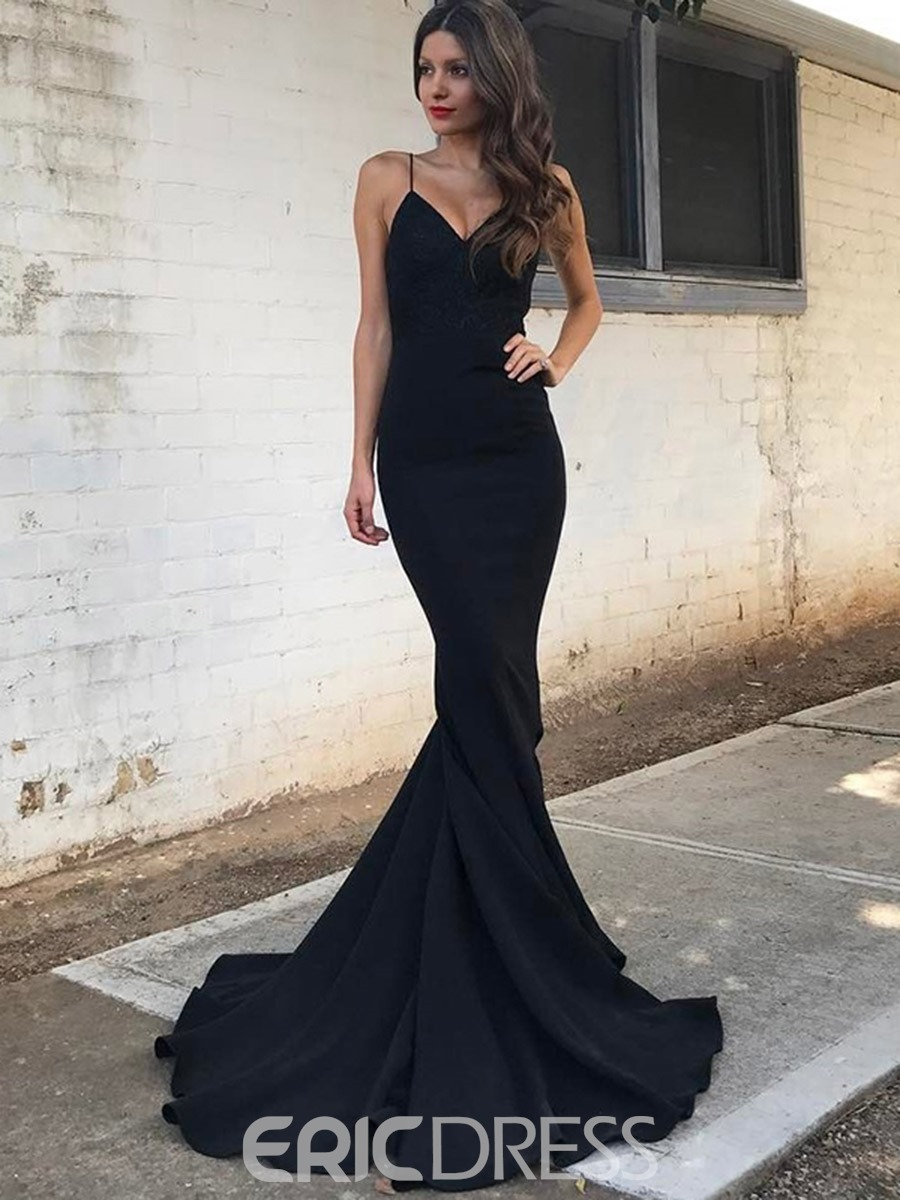 Ericdress Spaghetti Straps Mermaid Evening Dress With Sweep Train