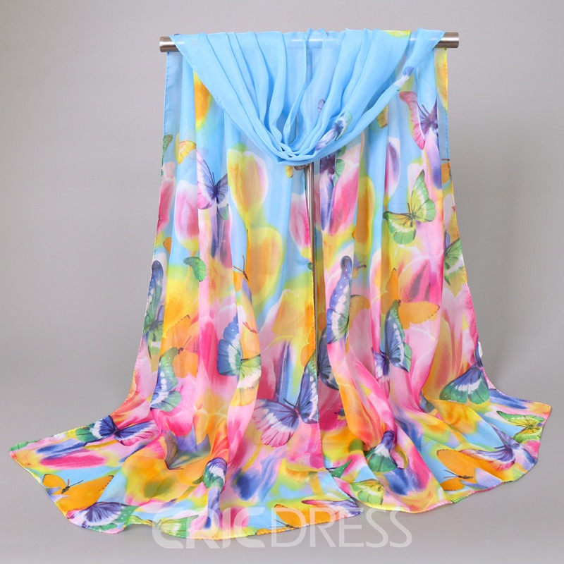 Ericdress Butterfly & Flower Printed Chiffon Scarf