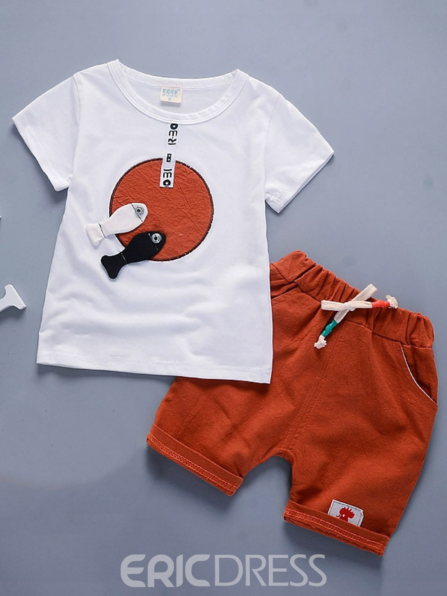 Ericdress Fish Appliques T-Shirt Shorts Four Color Toddler Boys Outfit