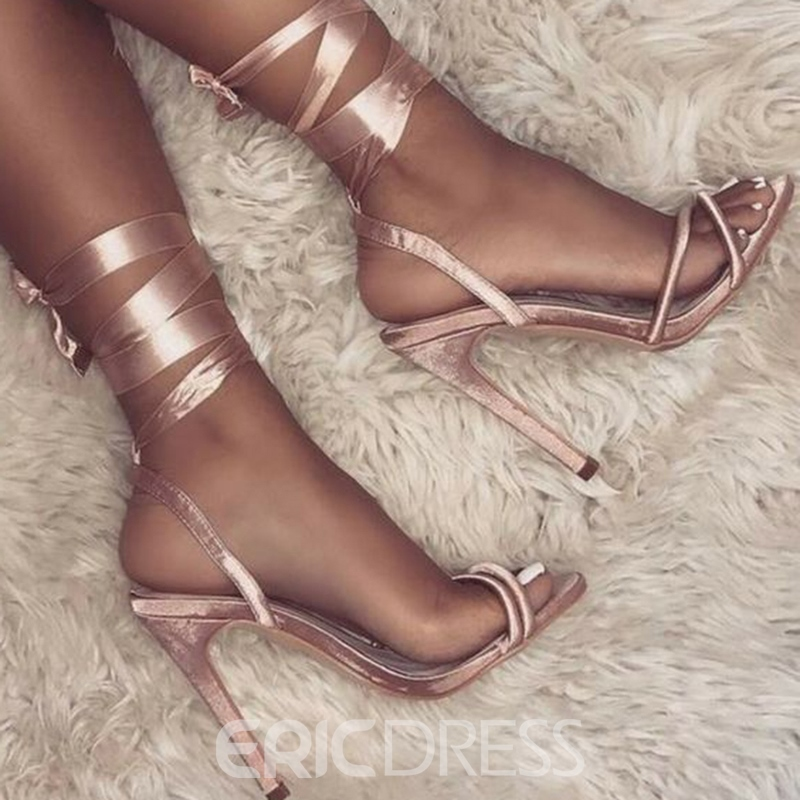 Ericdress offene toe lace-up stilettfersensandalen