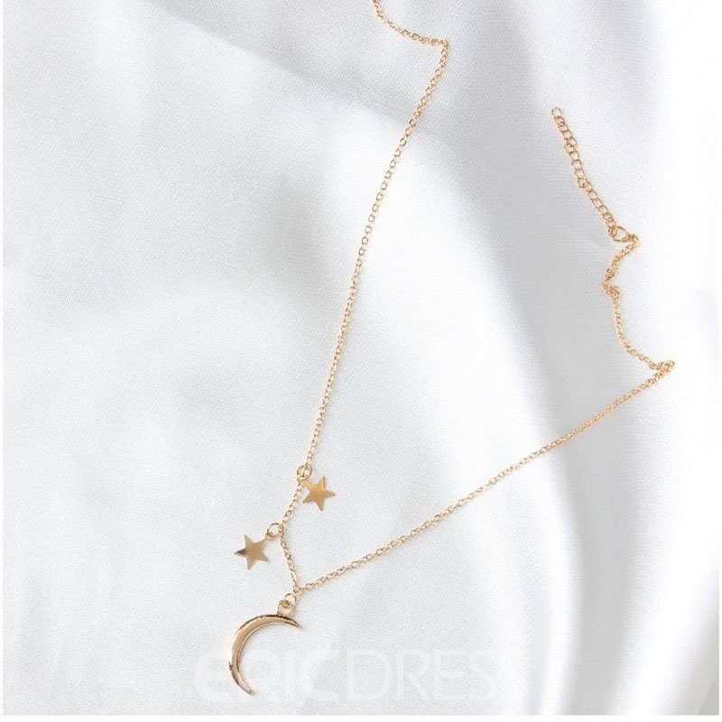 Ericdress Romantic Moon & Star Pendant Alloy Necklace