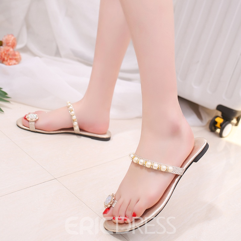 Ericdress Sweet Pearl Clip Toe Flat Sandals