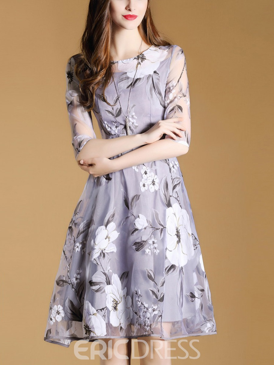 Ericdress Sweet Floral 3/4 Length Sleeves A Line Dress