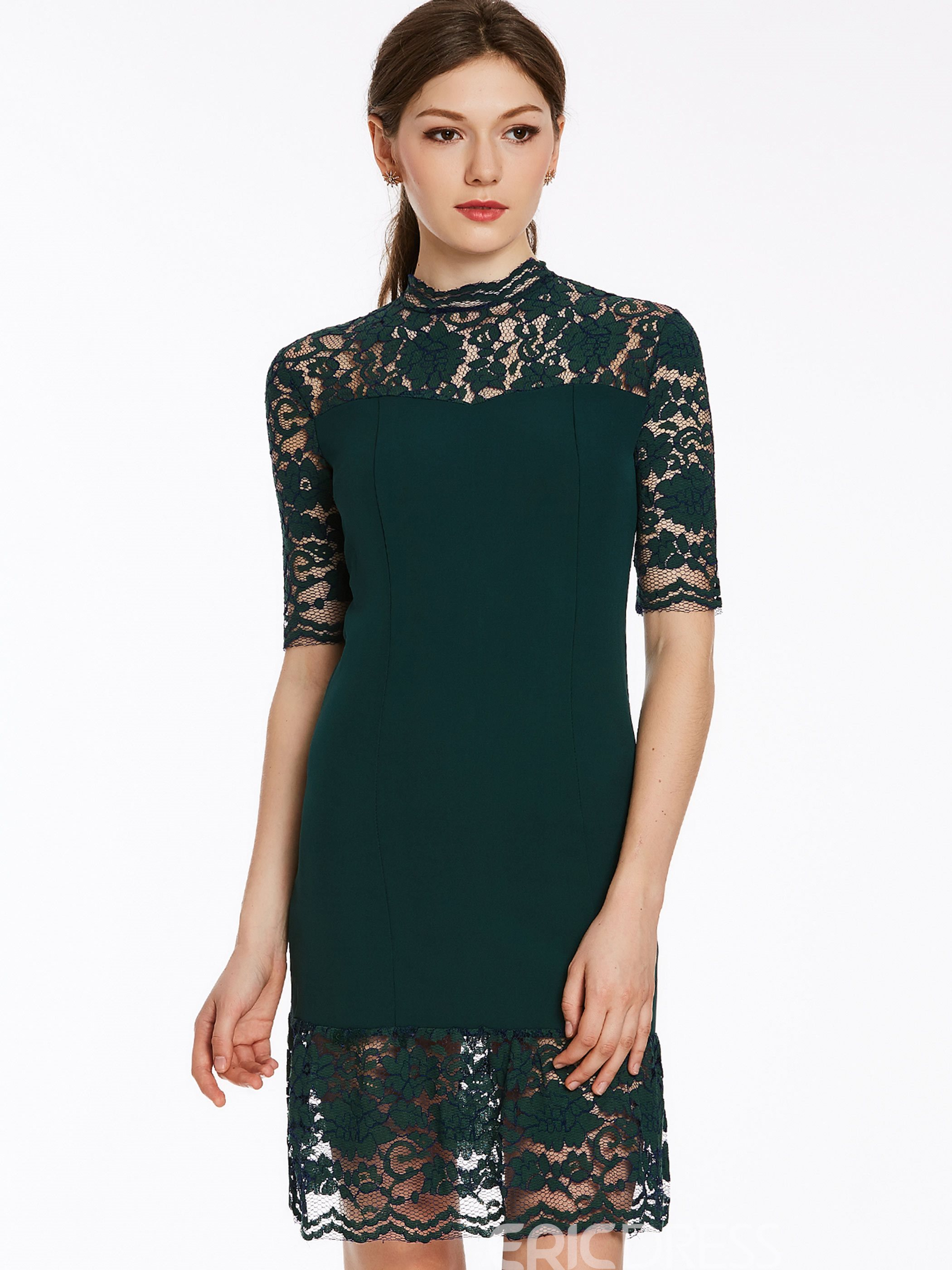 Ericdress Hollow Fabric Patchwork Knee-Length Lace Dress