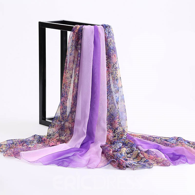 Ericdress Flower Printed Long Chiffon Beach Scarf