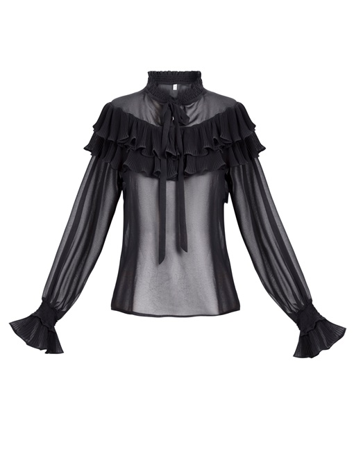 Ericdress Falbala Patchwork Ruffled Collar Lantern Sleeve Blouse