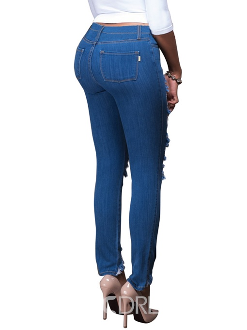 Ericdress Low Waisted Worn-Out Denim Women's Jeans