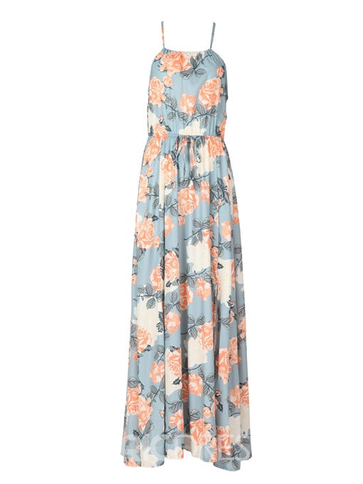 Ericdress Halter Flower Print Split Maxi Dress