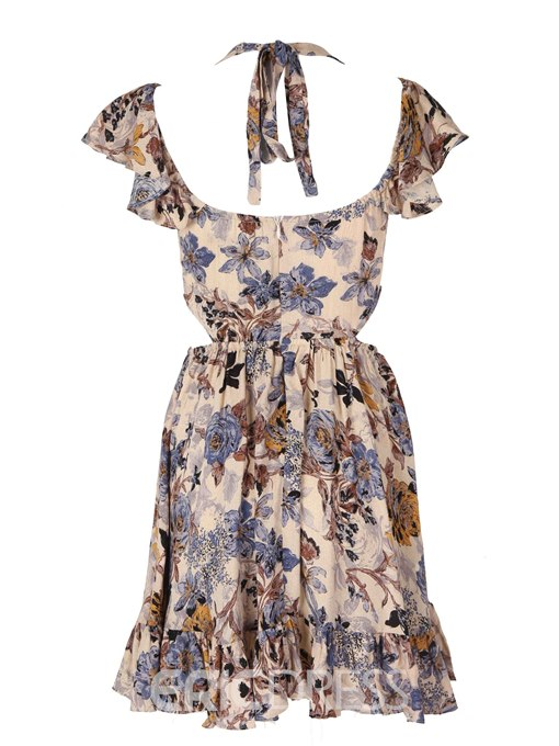 Ericdress V-Neck Pleated Print A Line Dress