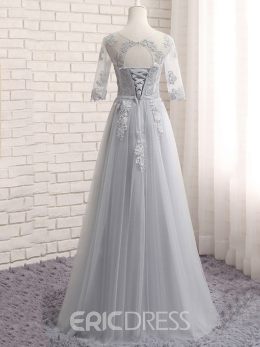 Ericdress Appliques Lace-Up Half Sleeves Bridesmaid Dress