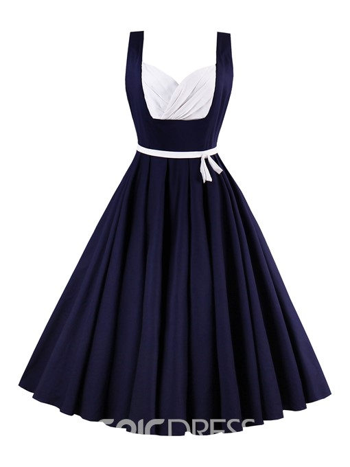 Ericdress Color Block Pleated-Detailed Sleeveless A Line Dress