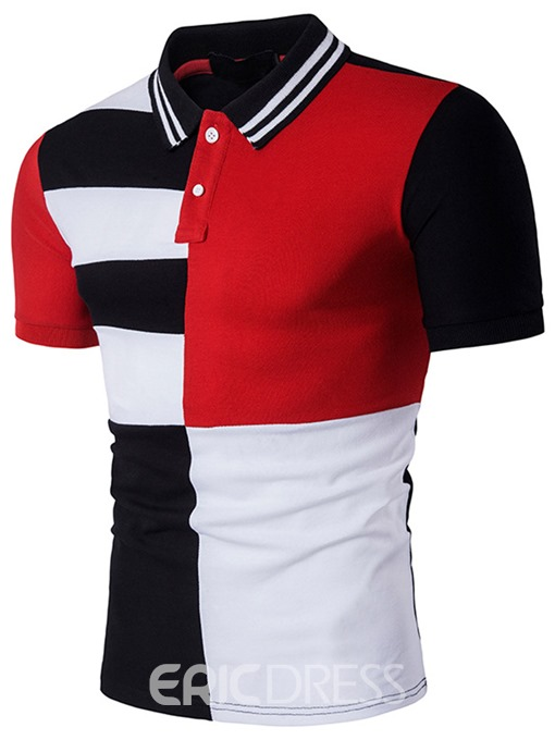 Ericdress Stripe Collar Color Block Casual Men's T-Shirt