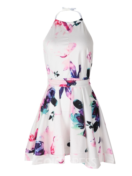 Ericdress Print Floral Backless Lace-Up A Line Dress
