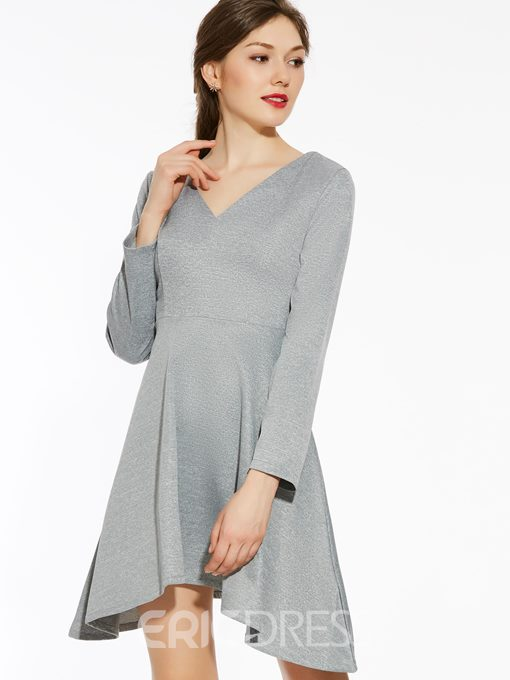 Ericdress Solid Collar Stylelines Asymmetric Casual Dress