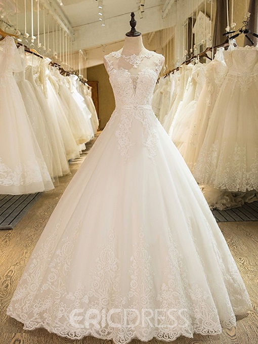 Ericdress Straps Appliques Beading Ball Gown Wedding Dress