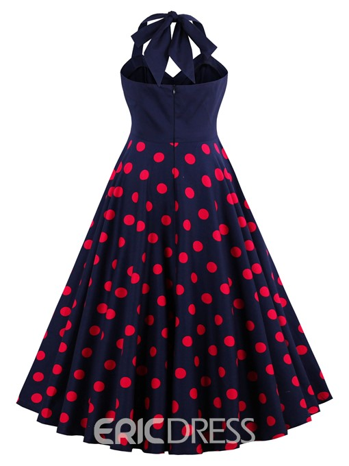 Ericdress Polka Dots V-Neck Backless A Line Dress