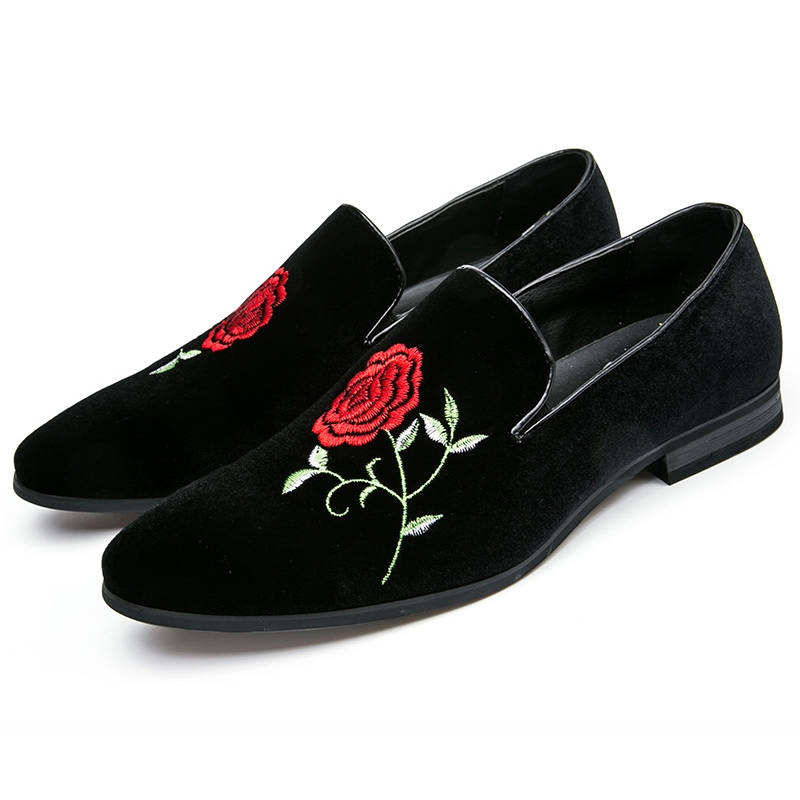 Ericdress Suede Rose Embroidery Men's Casual Shoes