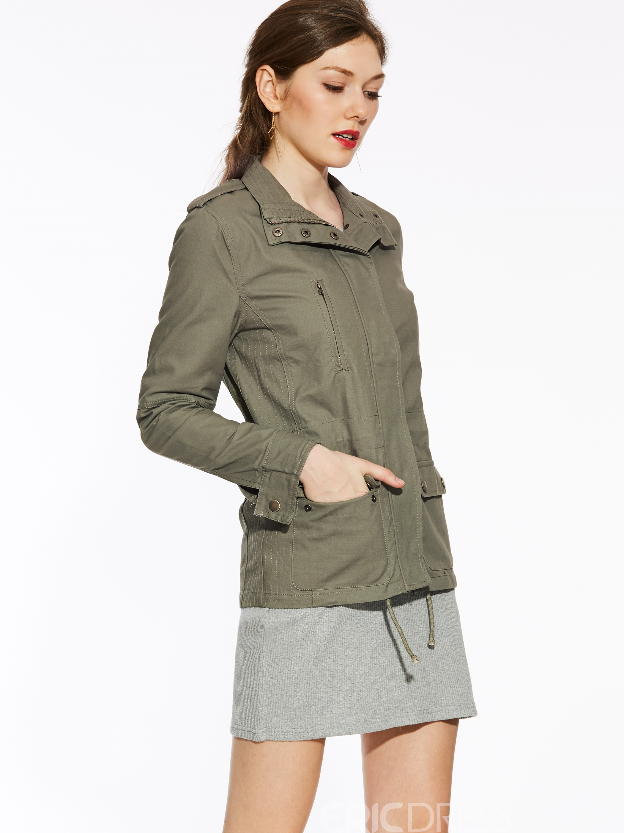 Ericdress Slim Zipper Plain Jacket