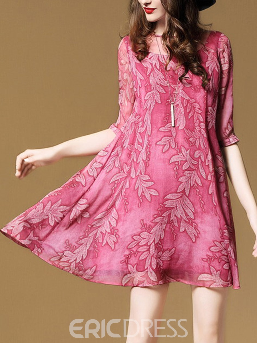 Ericdress Plain Print Chiffon Summer Casual Dress