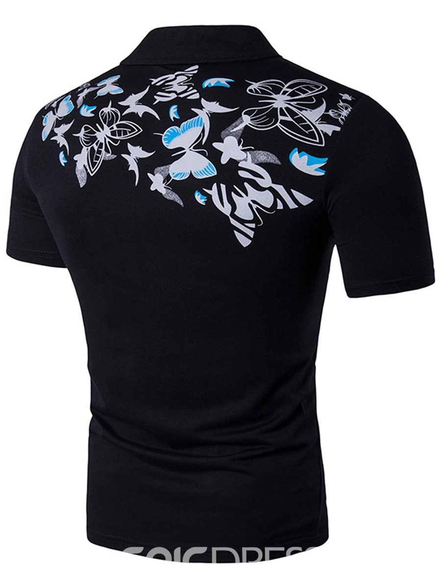 Ericdress Butterfly Print Short Sleeve Men's T-Shirt