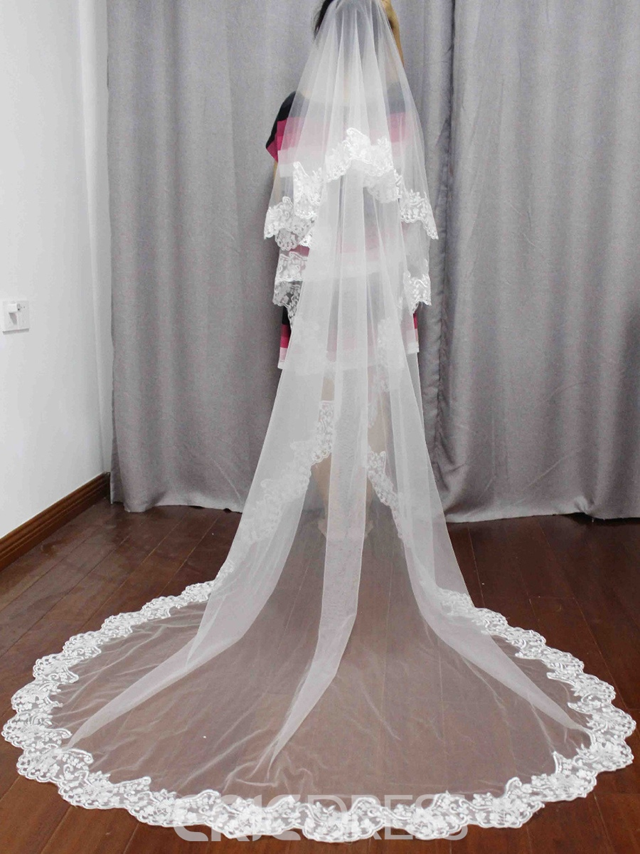 Ericdress 2T Lace Edge Long Blusher Wedding Veil