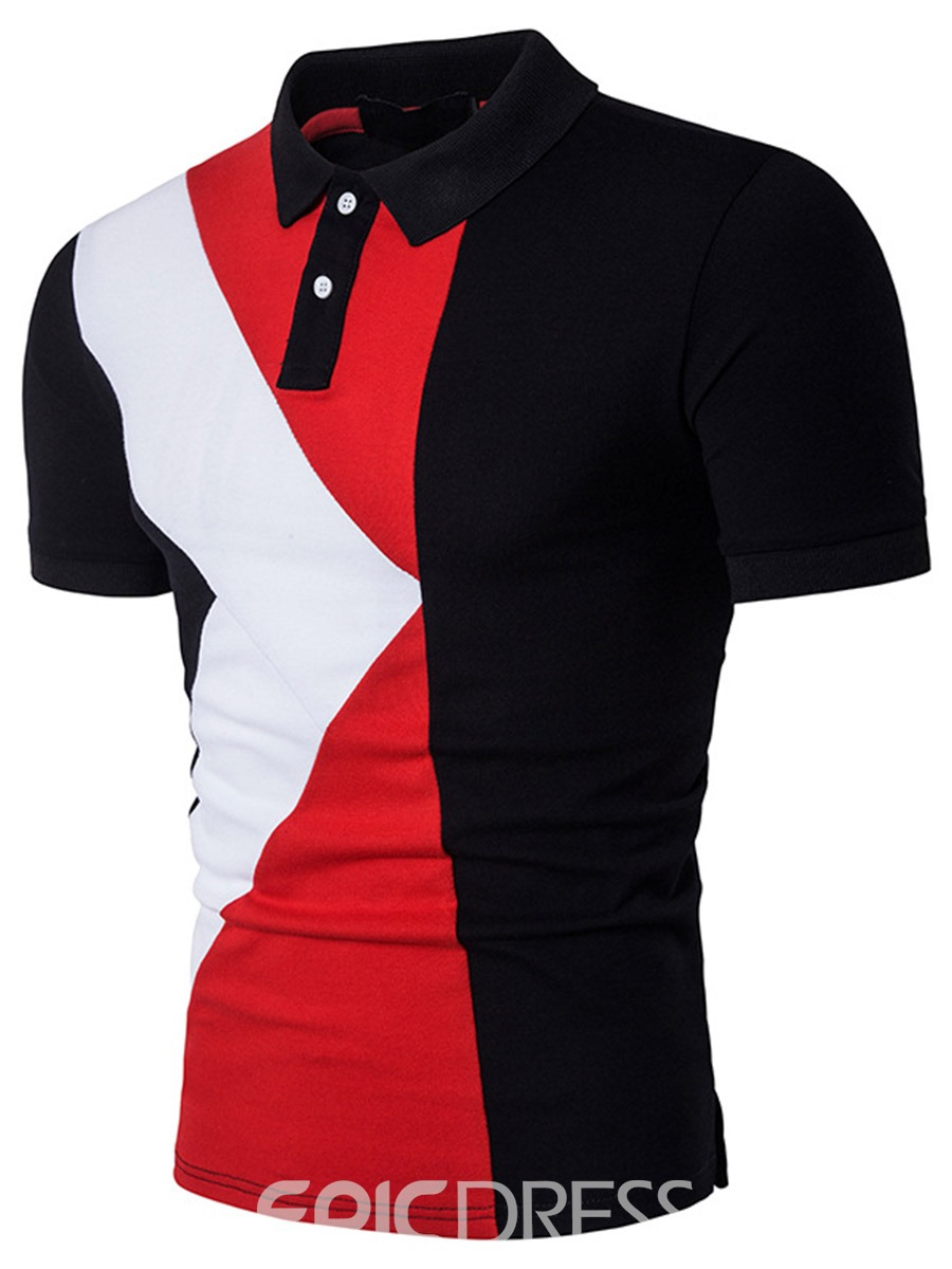 Ericdress Color Block Casual Patched Men's T-Shirt