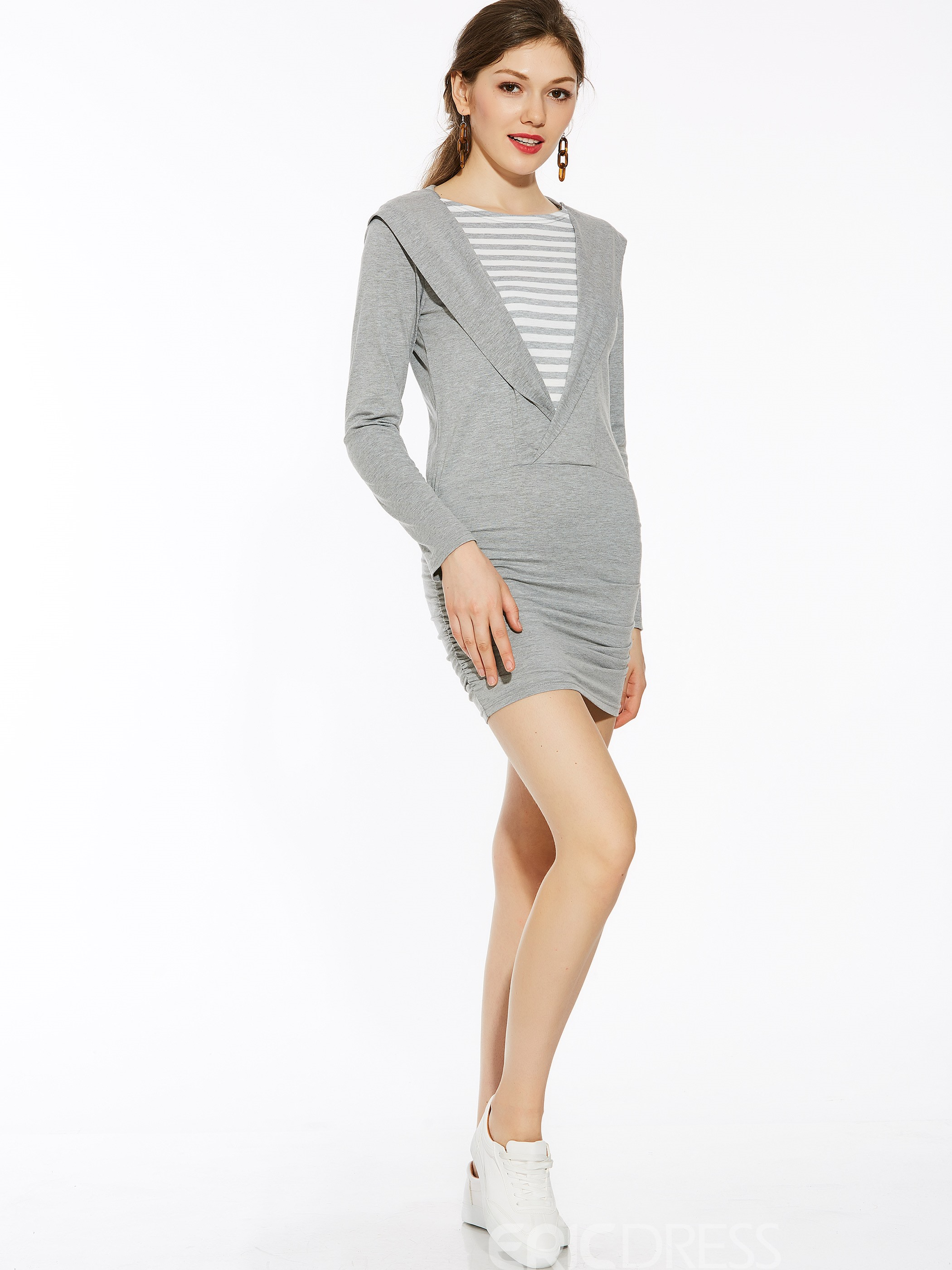 Ericdress Ladylike Double-Layer Bodycon Dress