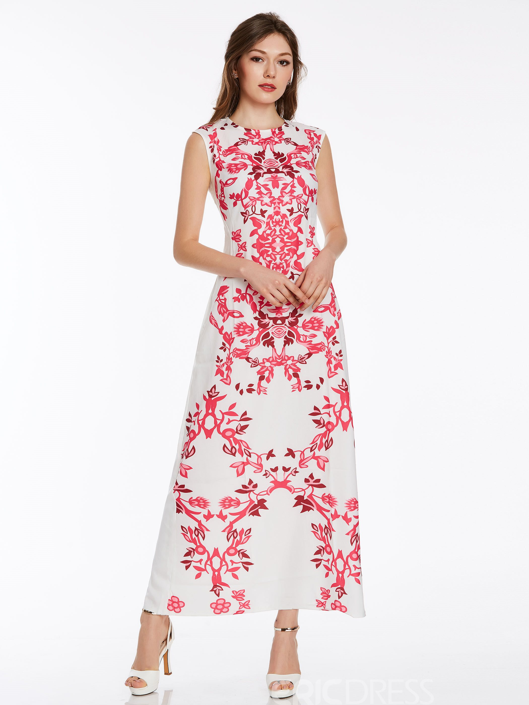 Ericdress Print High-Waist Sleeveless Maxi Dess