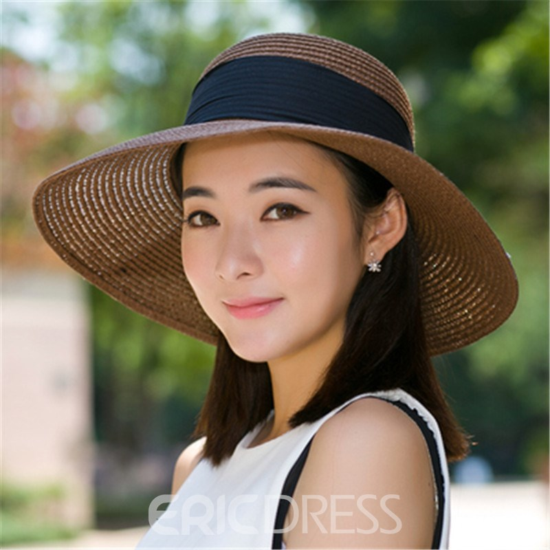Ericdress Ladylike Bowtie Bucket Sun Hat for Summer Hoilday