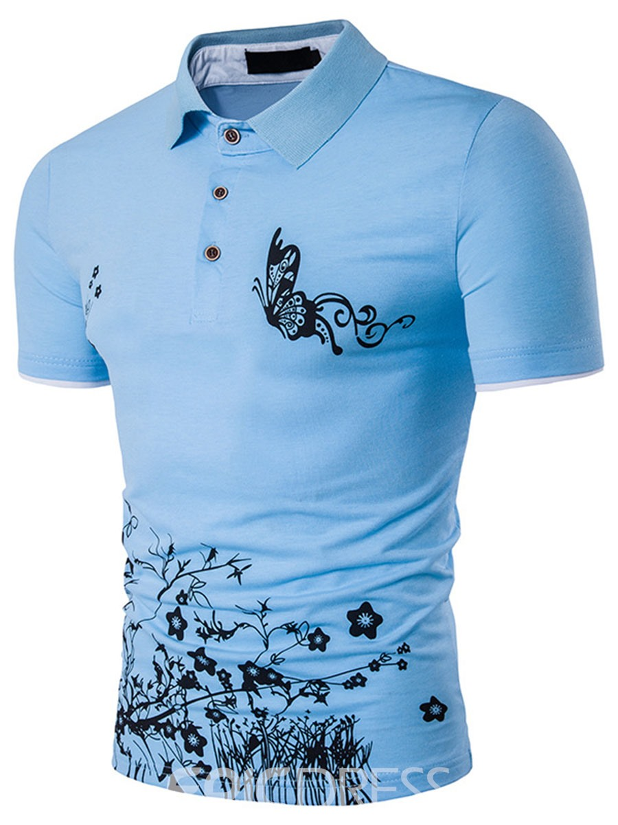 Ericdress Print Short Sleeve Polo Men's T-Shirt