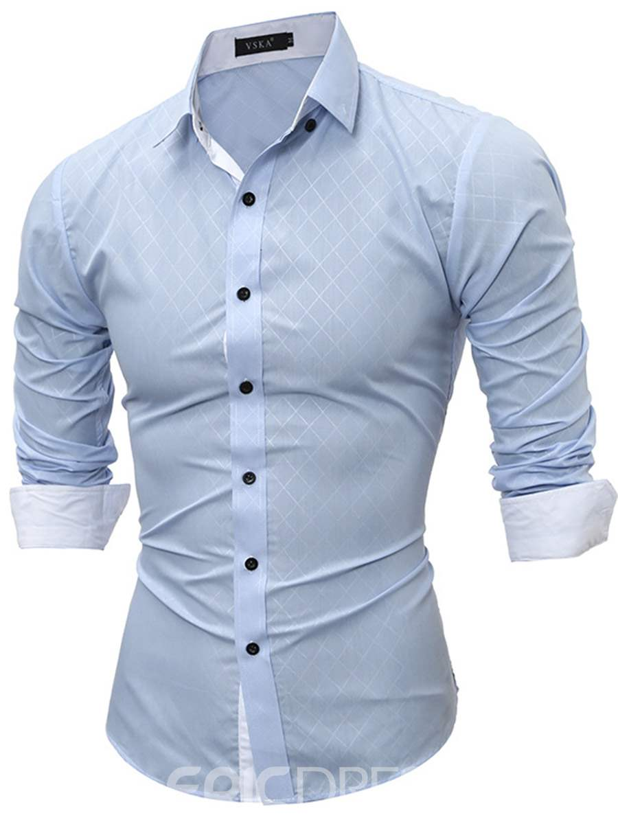 Ericdress Plain Slim Classic Plaid Men's Shirt
