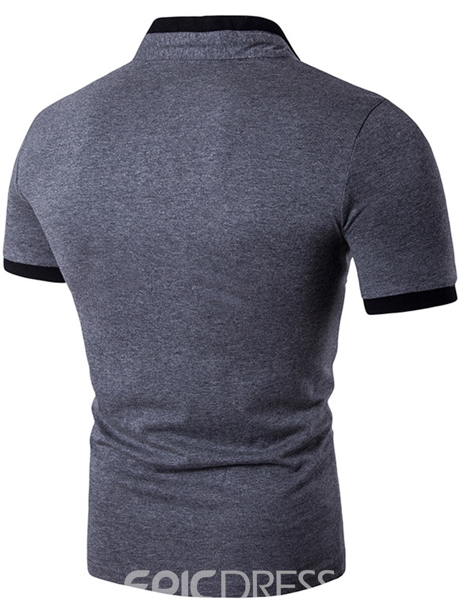 Ericdress Patched Stand Collar Short Sleeve Men's T-Shirt