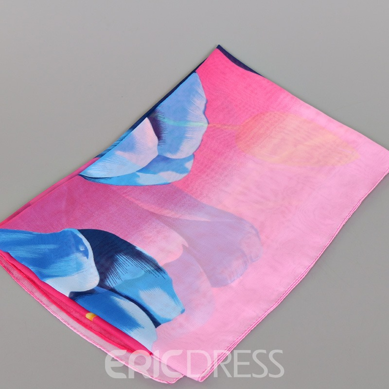 Ericdress Chinese Style Tulip Printed Chiffon Scarf