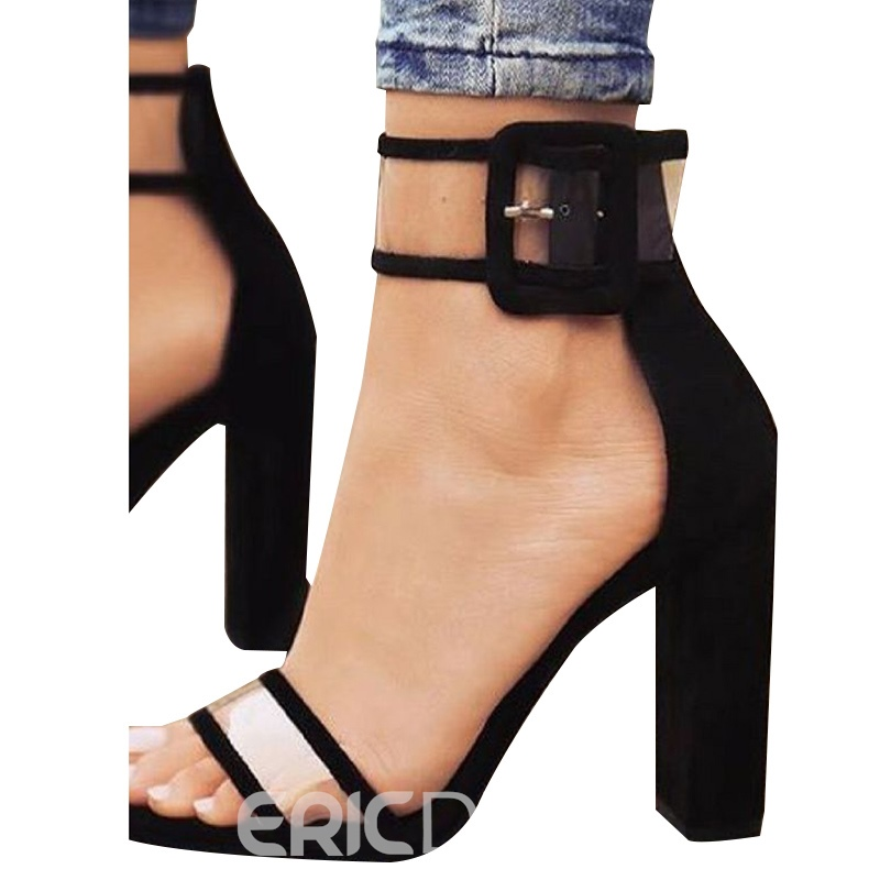 Patchwork Line-Style Buckle Chunky Heel Sandals