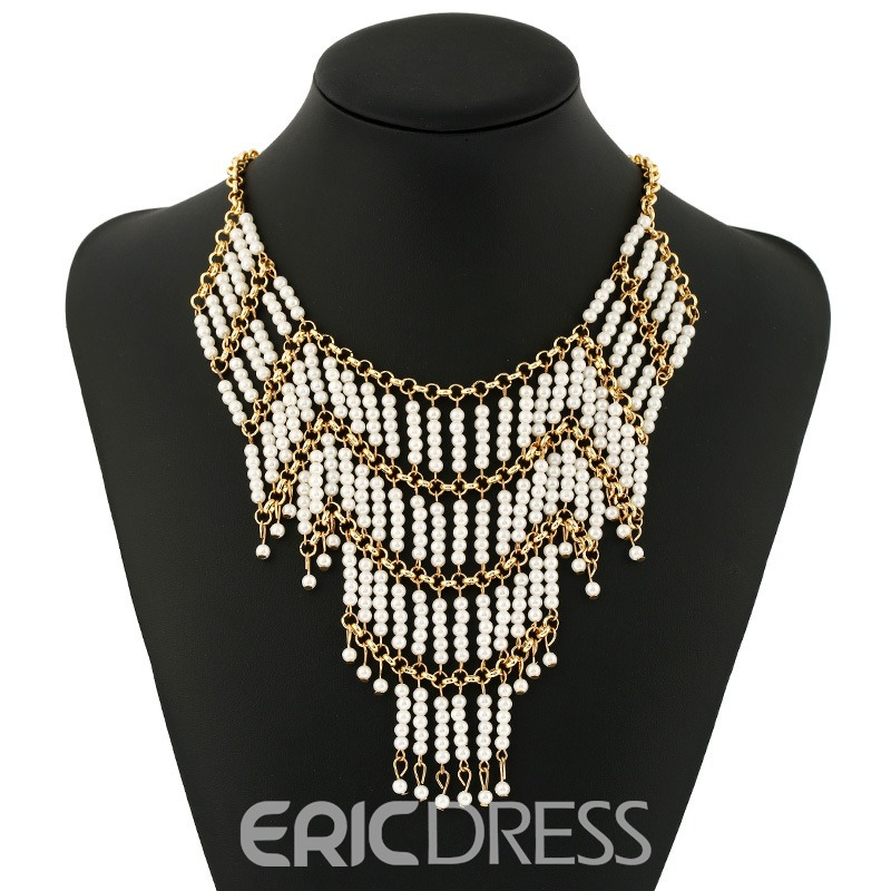 Ericdress Multilayer Pearl Tassel Charm Necklace