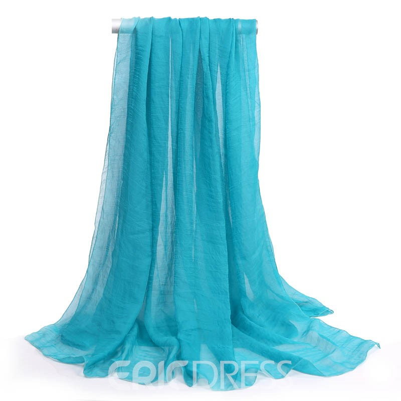 Ericdress Solid Color Long Chiffon Beach Scarf
